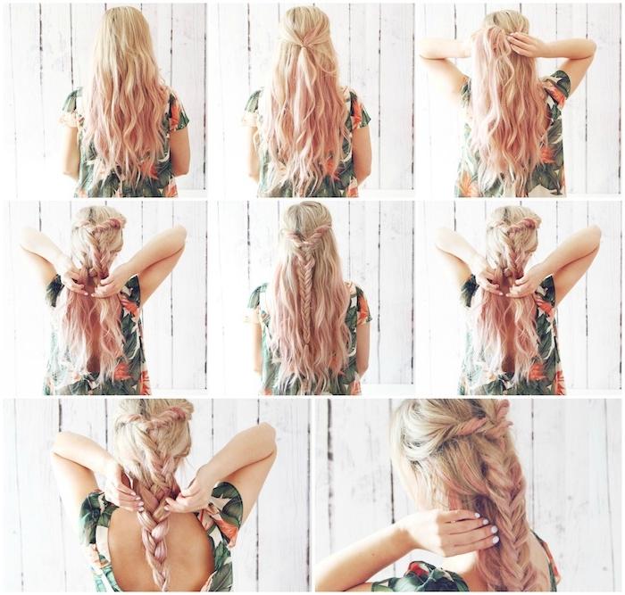 tuto tresse épi derrière la tête qui se prolonge en grande tresse volumineuse, cheveux ondulés ombré rose