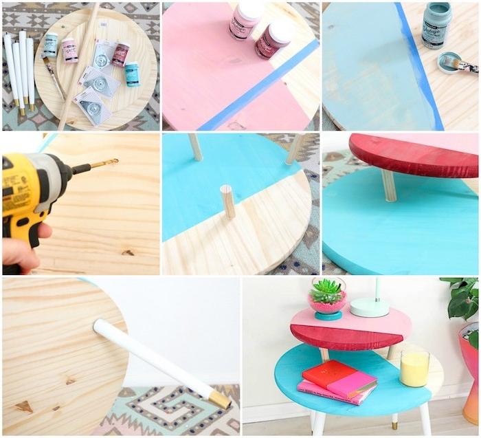 idée originale pour fabriquer table basse en planches de bois rondes de tailles diverses, customisées de peinture et pieds en bois, table à différents niveaux