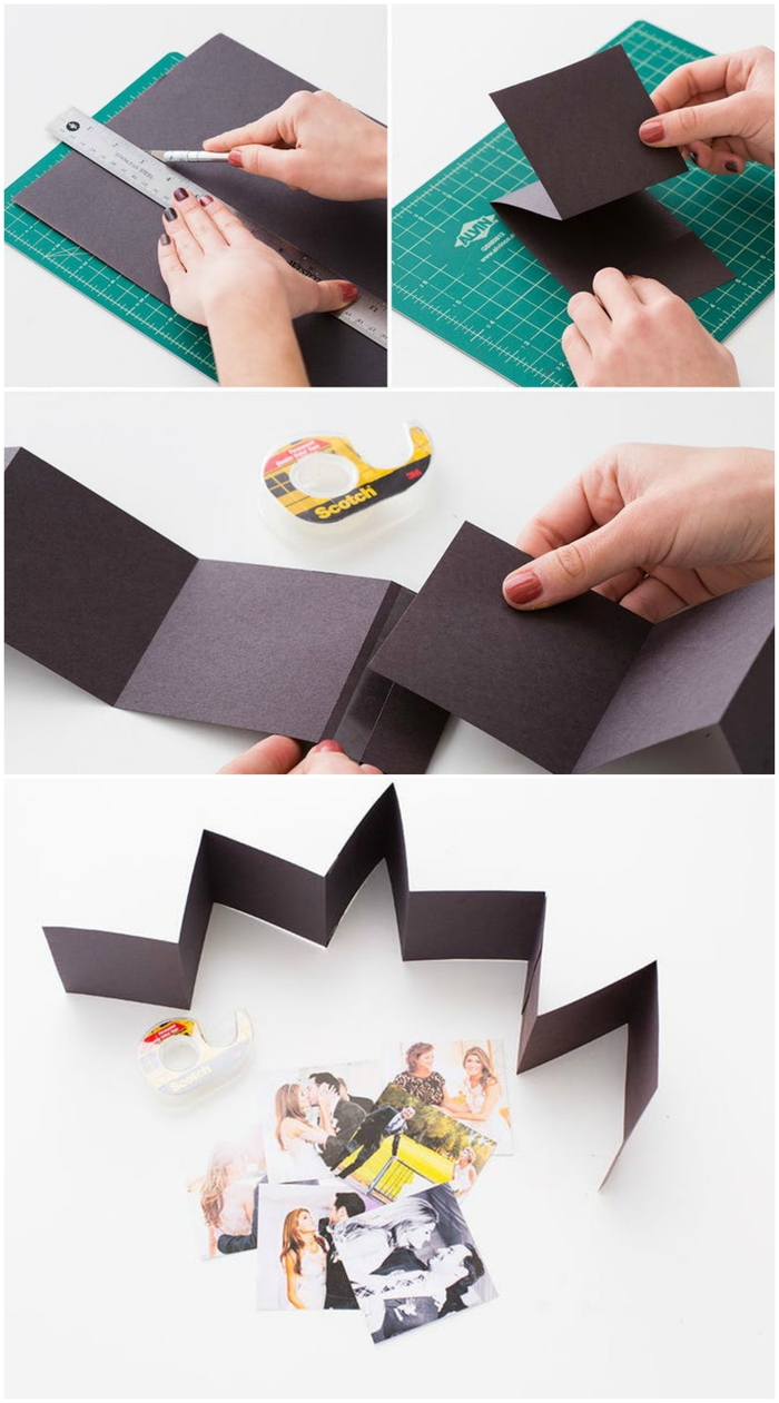tuto pour réaliser une boîte en bois personnalisée avec mini-album en accordéon de photos de couple à offrir comme cadeau pour la saint valentin