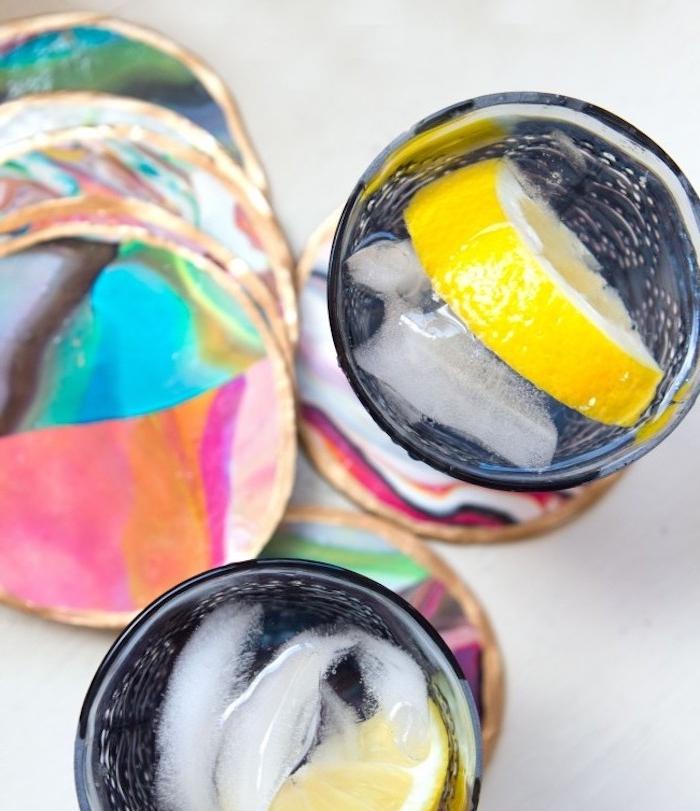 dessous de verre à effet marbe coloré, creation pate fimo à réaliser soi meme, bricolage facile et rapide