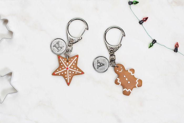 porte clé en fimo en forme d étoile et bonhomme de gingembre, cadeau a faire soi meme pour noel,