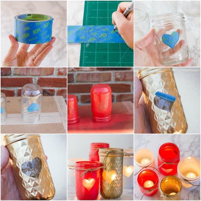 bougeoir diy en pot de verre à motif coeur décoré de peinture rouge et or, idée cadeau pour sa copine