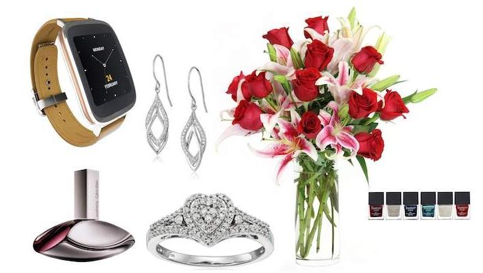 idées de cadeau pour sa copine, sélection des meilleurs cadeaux, boucles d oreille, bague, montre, bouquet de fleurs, vernis à ongles, parfum