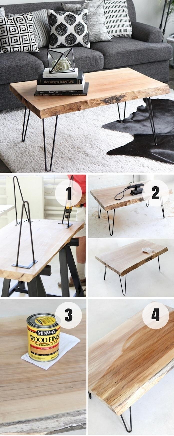 idée comment fabriquer table basse bois brut avec des pieds en epingle a cheveux, canapé gris et coussins gris, noir et blanc