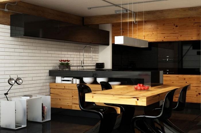design rustique et moderne avec murs en briques blanches et meubles en bois clair, cuisine incorporée