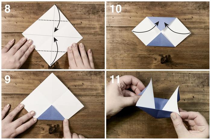 les étapes de pliage d'un modèle d'origami bateau à voile, l'art de pliage origami pour débutants