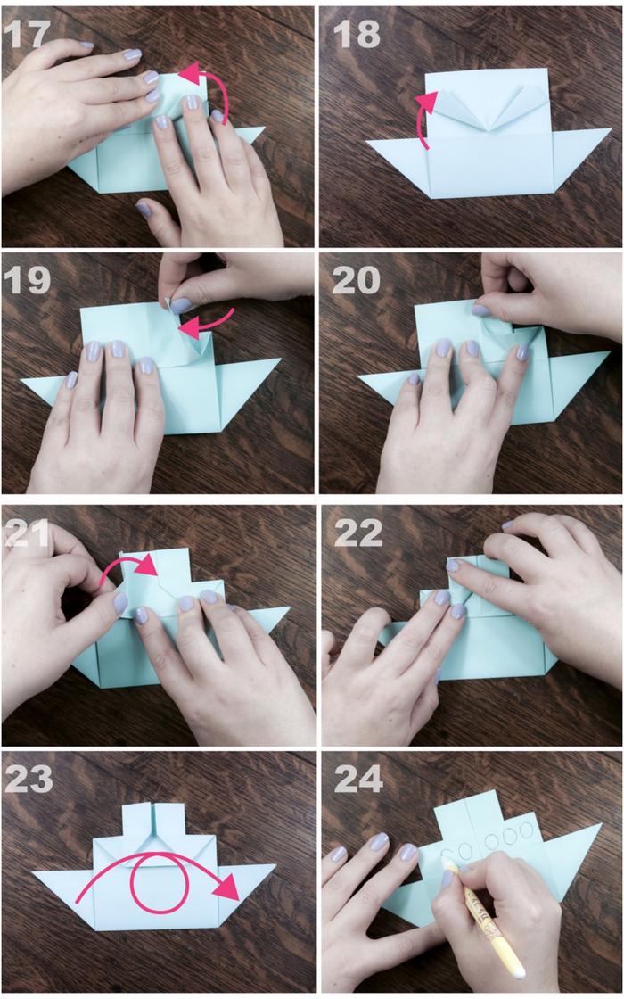 tuto prigami pour réaliser un modèle simple et facile de bateau à vapeur en papier avec toutes les étapes de pliage