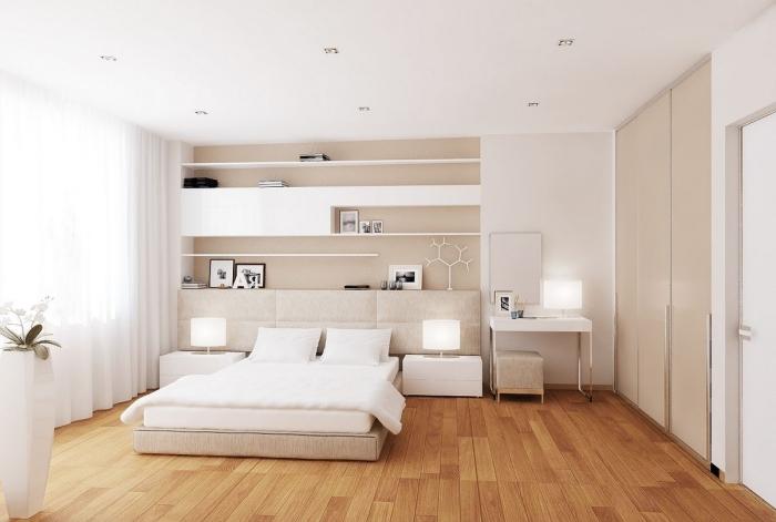 quelle couleur pour chambre adulte à design minimaliste, intérieur blanc et beige avec éclairage led et meubles moderne