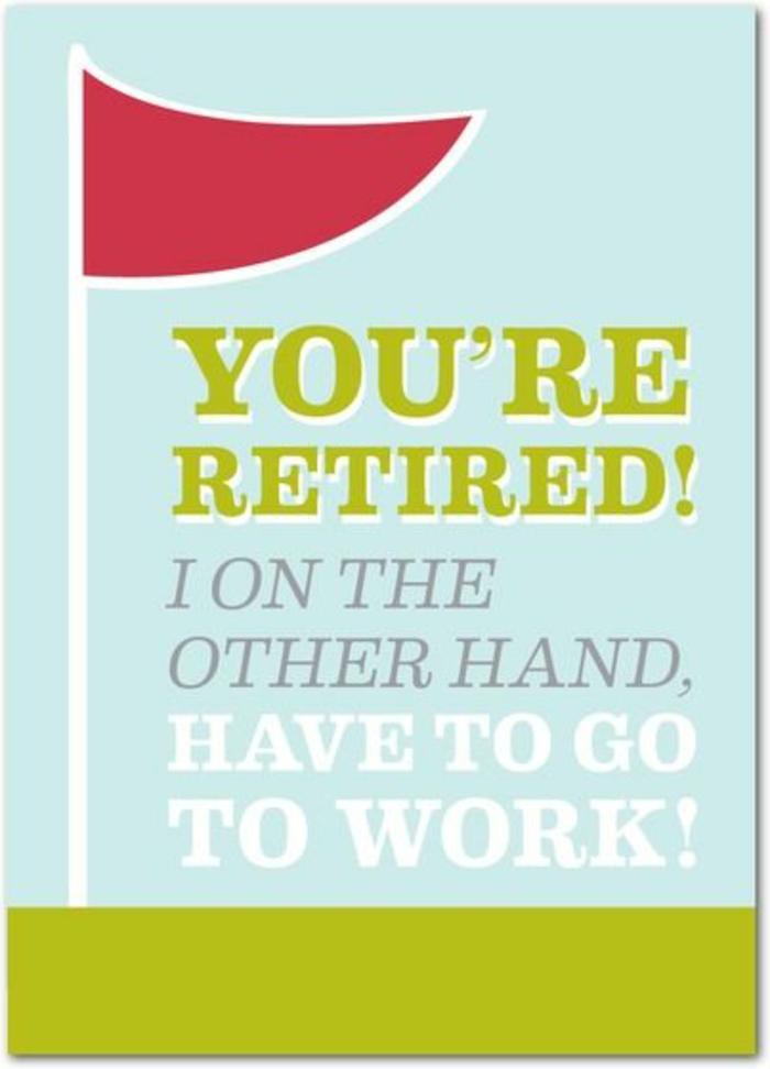 carte de retraite, bonne retraite, message retraite, vive la liberté des retraités, avec paysage de club de golf, petit drapeau en rouge pour signer le cou