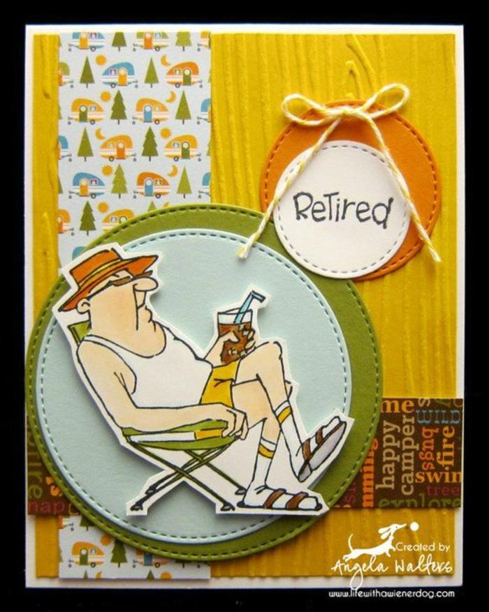 depart retraite, carte de retraite, monsieur étalé sur sa chaise longue avec un cocktail à la main, retraité heureux, paysage de camping, couleurs de la carte joyeuses