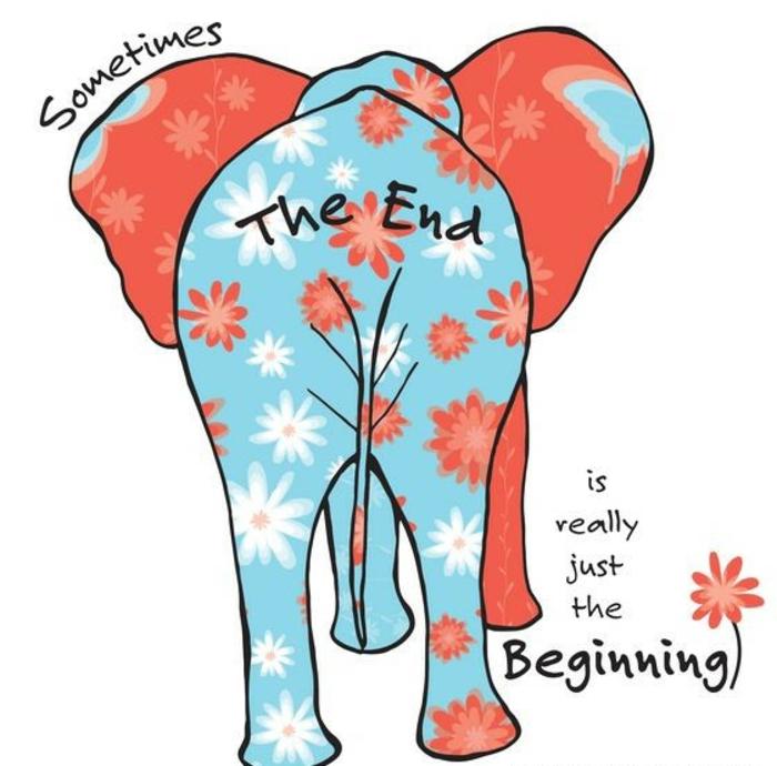 message retraite, carte de retraite, bonne retraite, éléphant en bleu et corail, avec un message philo, la fin qui signe un nouveau départ et le début d'une nouvelle vie