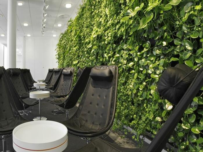 mur végétalisé intérieur, chaises noires, plafond blanc, lampes encastrés