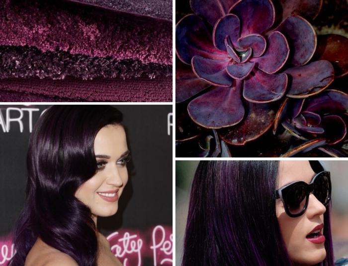 coiffure célébrité de Katy Perry aux cheveux violet foncé et mèches noires, modèle de lunettes de soleil noires pour femme