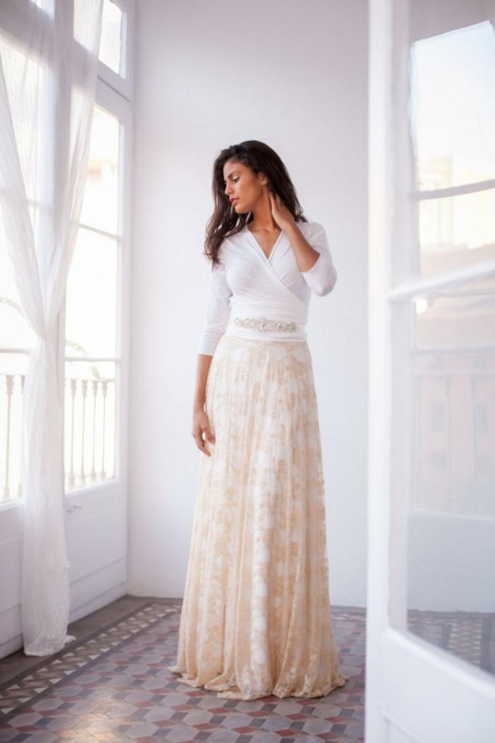 Femme robe longue manches courtes robe féminine robe longue dentelle jupe top blanc cool