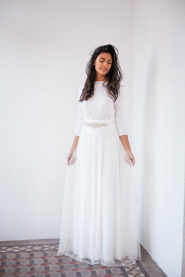 Habillée robes manches longues robe longue fendue comment s habiller pour une soirée robe blanche décontractée chic