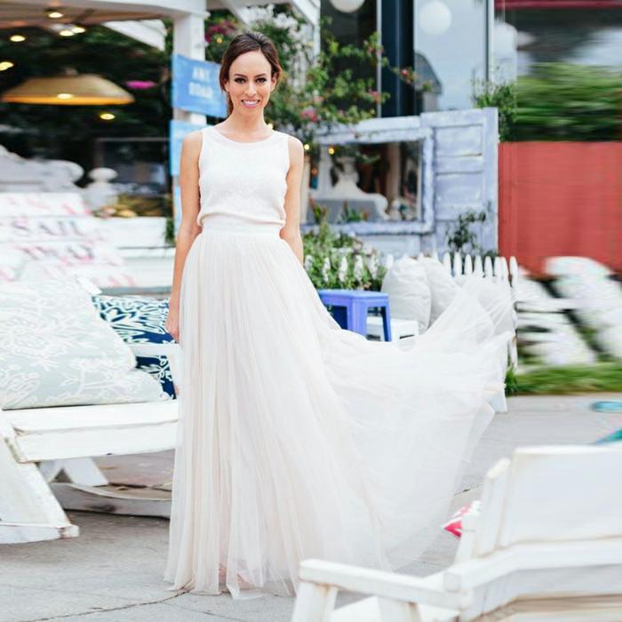 Mariage invitée tenue de soirée hiver femme stylée robe cocktail été robe deux pièces jupe longue et top blanc