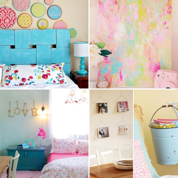 chambre ado fille 12 ans, tête de lit colorée en bleu turquoise, couverture de lit en blanc et rose à design floral
