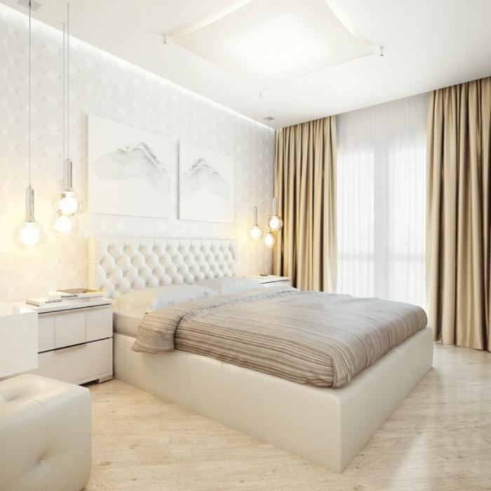 association couleur beige avec murs blancs décorés de peintures blancs et noirs, plafond suspendu blanc avec lampes suspendues