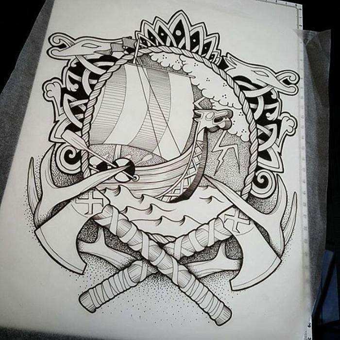 Formidable idée tatouage viking avant bras tatouage idée dessin tatouage marine viking