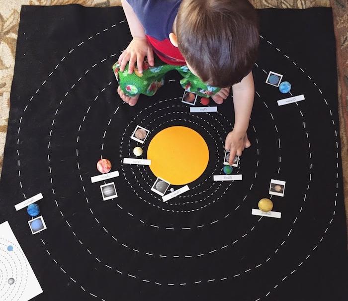 materiel montessori un panneau en tissu noir avec les planètes à ranger autour, modele miniature systeme solaire, activité divertissante enfant