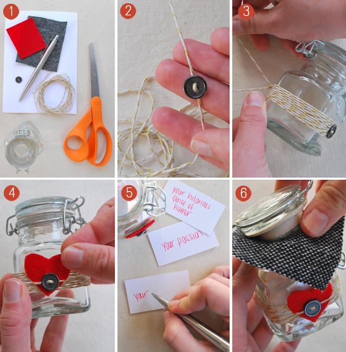 cadeau a fabriquer pour sa meilleure amie et sa copine pour saint valentin, petit pot en verre customisé de coeur en feutrine et ficelle de lin