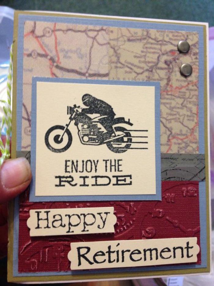 message retraite, carte de retraite, depart retraite, avec voeu profite bien de la course, une moto qui va a grande vitesse