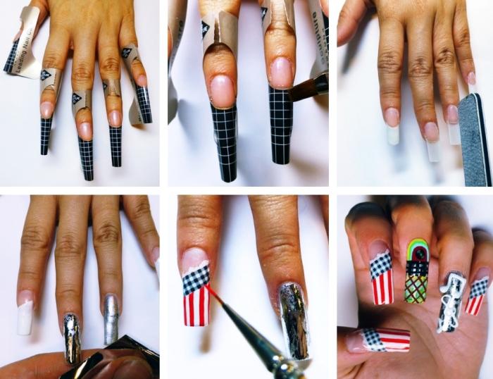 tutoriel pour maitriser la pose ongle gel, nail art sur extensions en gel à réaliser avec pinceaux et vernis gel
