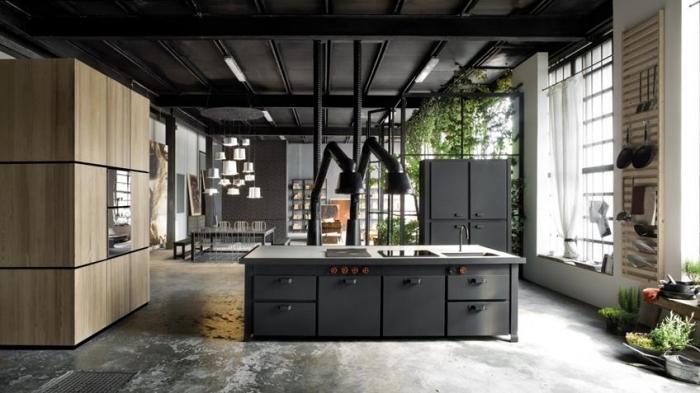 comment aménager la cuisine ouverte dans un studio de style loft industriel avec tuyaux apparents, cuisine gris anthracite