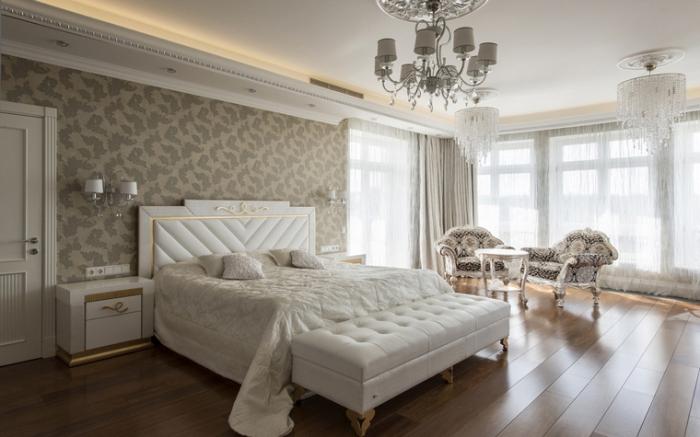 couleur pour chambre à coucher design parental avec murs en papier peint de nuances neutres et meubles blancs