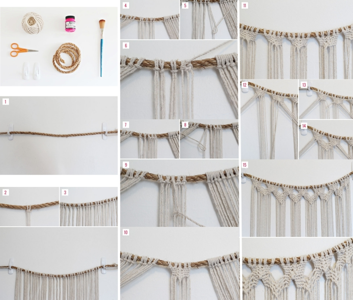 étapes à suivre pour fabriquer un macramé diy en fil blanc et corde beige, diy déco chambre ado pour fille