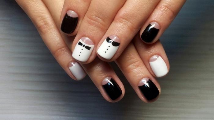 modele ongle gel noir et blanc ongles en gel courts en. Black Bedroom Furniture Sets. Home Design Ideas