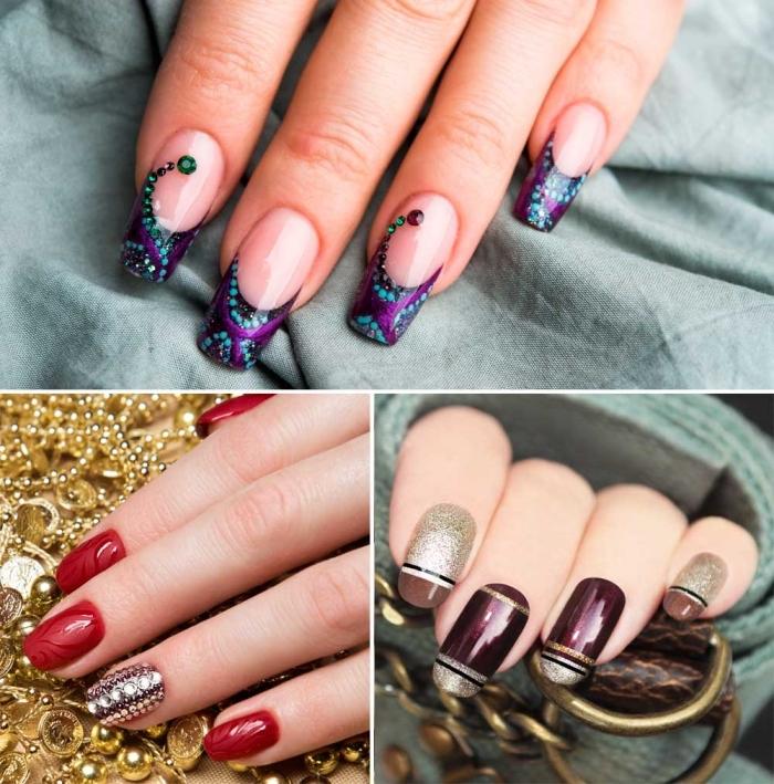 modèles de nail art sur ongles longs en gel, variation de manucure française en noir avec déco en violet et vert