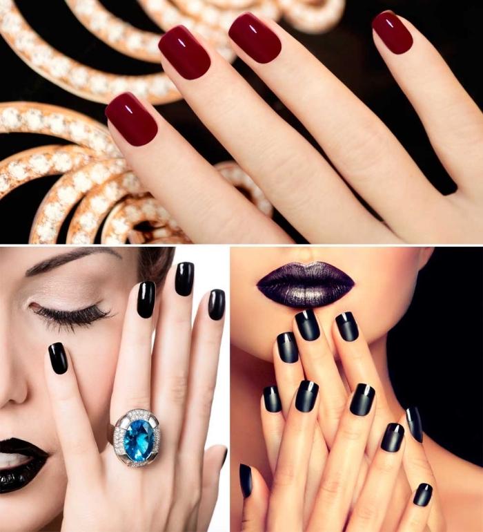 vernis à ongles en gel noir, maquillage avec fond de teint de nuance pêche et fards à paupières nude