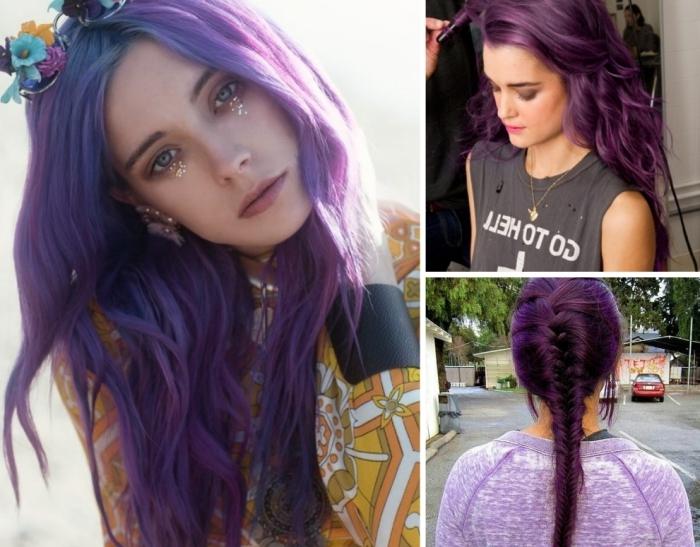 cheveux violet pour visage olive ou teint bronzé, maquillage pour yeux bleus ou verts avec fards à paupières beige et lèvres nude