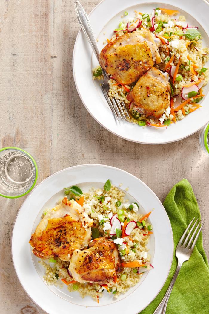 repas de saint valentin facile et rapide de poulet avec pilaf au quinoa
