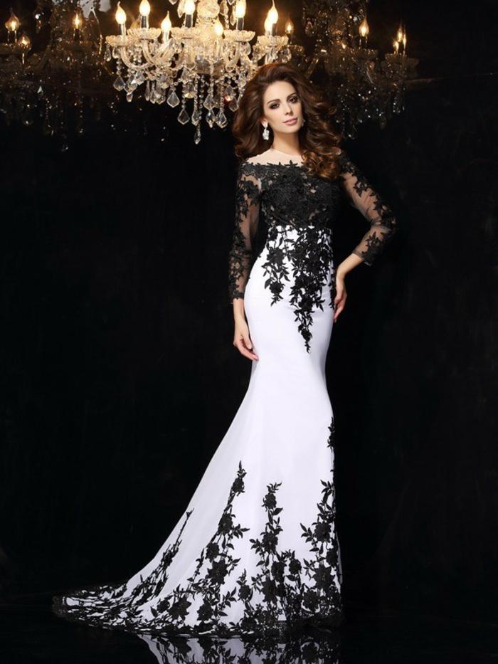 Belle robe de soirée comment s habiller pour une soirée chic robe noir et blanc longue manche dentelle