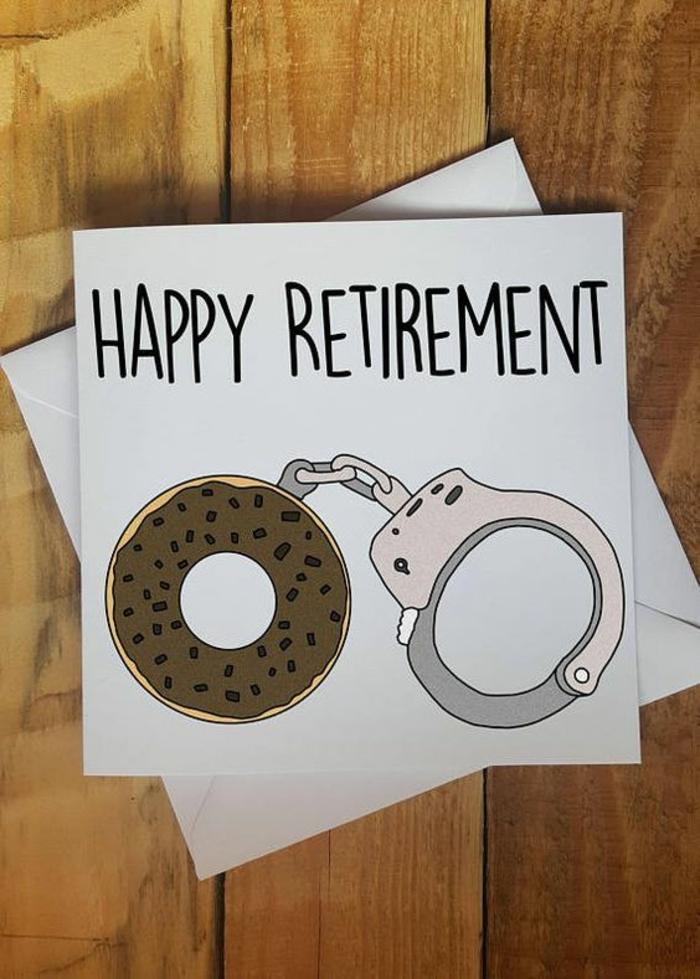 carte de retraite, depart retraite, vive la liberté, enfin a nous la vie, des menottes avec une moitié en forme de donut