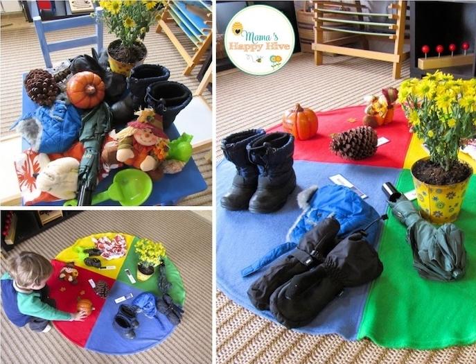 pédagogie montessori en crèche, distinguer les saisons, ranger des différents objets appratenant à diverses saisons, activité enfant facile, apprentissage ludique