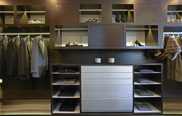meuble dressing, meuble dressing en bois foncé, espace rangement chemises, chaussires et manteaux