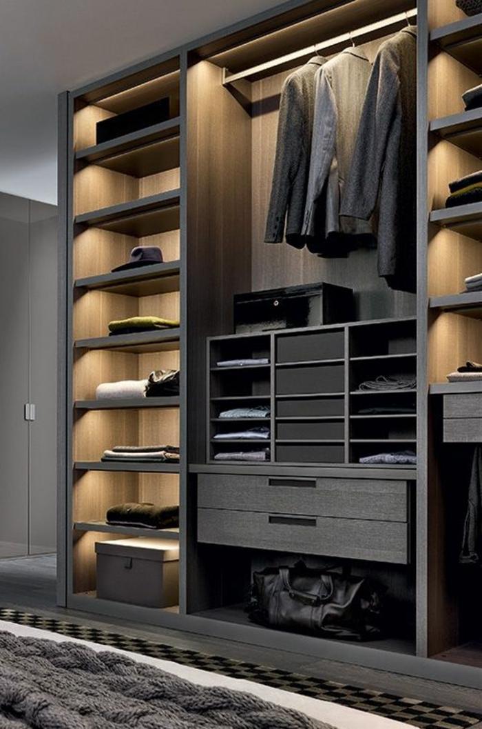 meuble dressing, mobilier contemporain, tiroirs, étagères et penderie style minimaliste