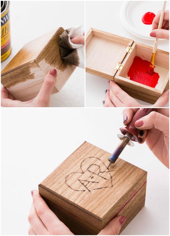 petit projet diy pour un cadeau pour son copain pour donner une touche de romanticisme à la fête, une boîte en bois personnalisée avec mini-album en accordéon de photos de couple
