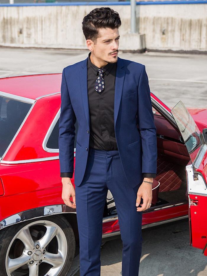 de fursac costume pantalon veste homme jules bleu foncé chemise noire