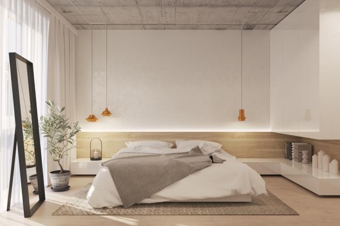 chambre à coucher design avec grand lit et meuble chambre moderne sans poignées, couleurs neutres pour la déco de l'espace intime