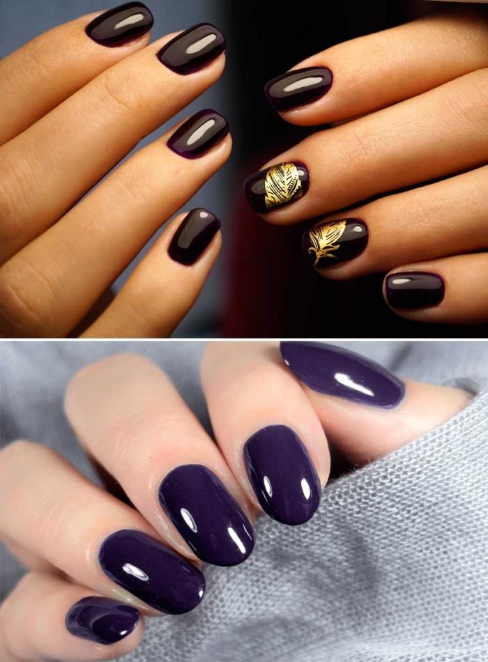 jolies ongles en gel mi-longs peints en vernis foncés de nuance bordeaux et violet