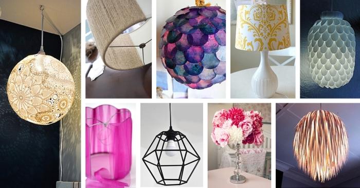 modèles de lampadaires diy pour la chambre fille ado, comment décorer sa lampe avec dentelle ou peinture