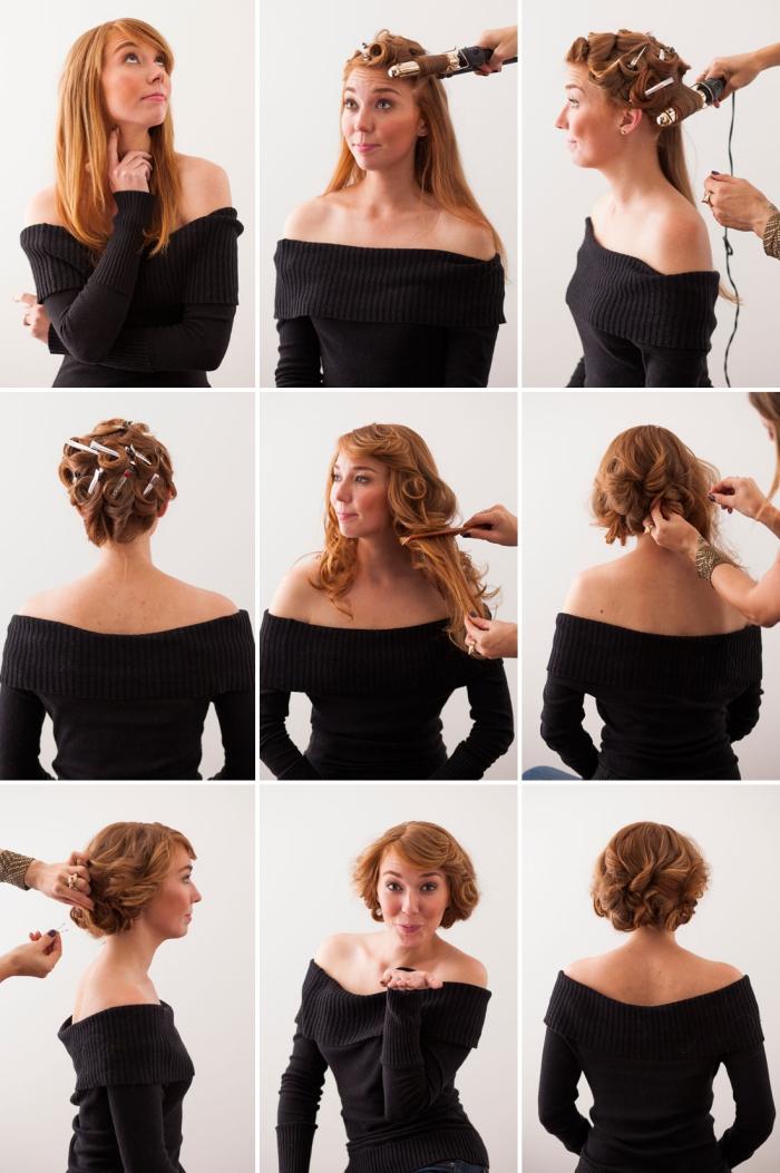 modele de coiffure, étapes à suivre pour faire une coiffure en cheveux attachés avec frange de côté