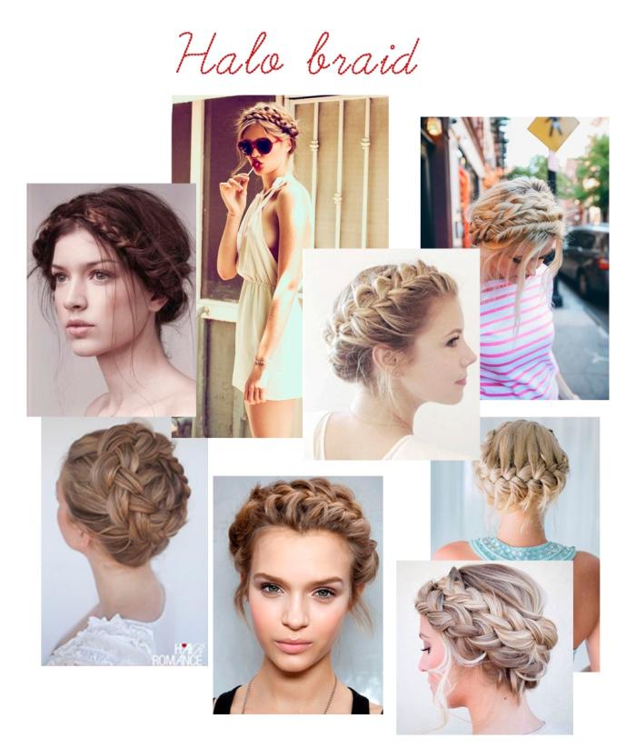 exemples pour une coiffure romantique en cheveux attachés avec couronne de tresse et mèches devant