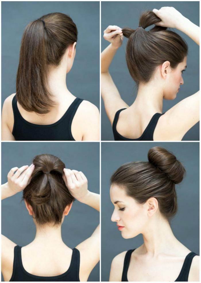 technique de coiffure simple, comment attacher les cheveux en chignon volumineux et haut