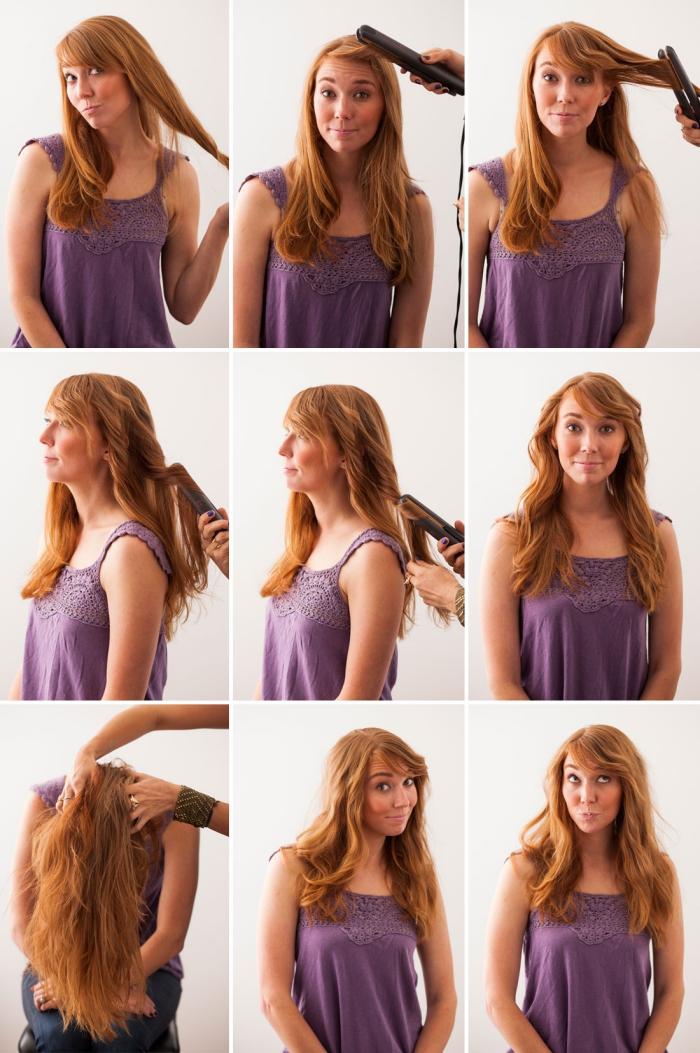 coiffures faciles, femme aux cheveux longs de couleur cuivrée avec frange de côté et boucles