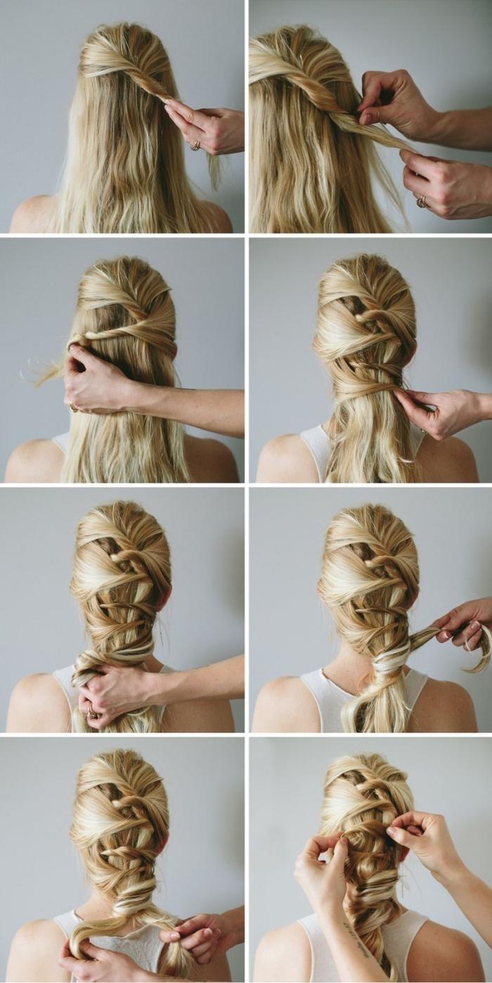 coiffure femme, comment styliser les cheveux longs avec une coiffure en queue de mèches torsadées